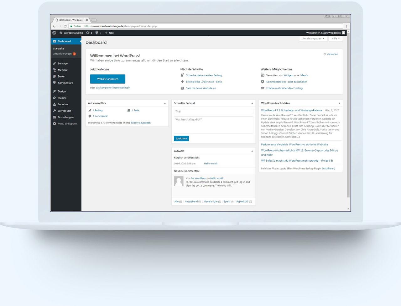 WordPress Backend auf dem Laptop