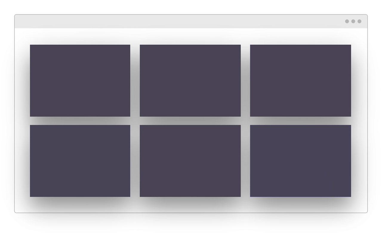 Browserfenster mit Kacheln